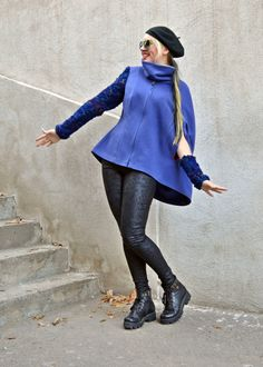 Now selling: Blue Jacket Cloak / Cashmere Cloak with Handmade Knitted Sleeve and Cuff / Blue Cashmere Jacket Cloak / Funky Loose Cloak TC51 https://www.etsy.com/listing/255423083/blue-jacket-cloak-cashmere-cloak-with?utm_campaign=crowdfire&utm_content=crowdfire&utm_medium=social&utm_source=pinterest