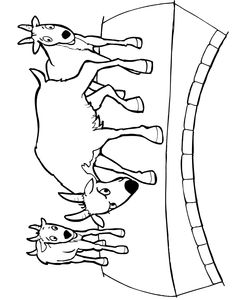 The 3 billy goats gruff fairy tale coloring page