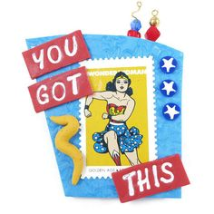 You Got This Wonder Woman Pin Handmade Brooch Inspirational Jewelry... ($17) ❤ liked on Polyvore featuring jewelry, brooches, cartoon jewelry, pin brooch, comic jewelry, retro jewelry and pin jewelry