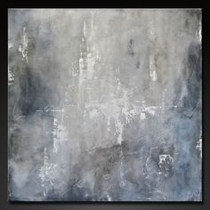 """Abstract painting, contemporary urban, modern design;  gray, black, charcoal, white.  """"In The Mist"""" 40"""" x 40"""""""