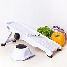 3Haus Adjustable White Mandoline Slicer- Vegetable Slicer- Food Slicer- Julienne Cutter Mandolin Stainless Steel Plastic with Finger Guard