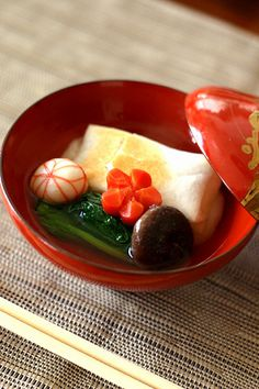 """Traditional food, """" #Zoni : 雑煮 """", is a rice cake boiled with vegetables on New Year's Day in #Japan.日本"""