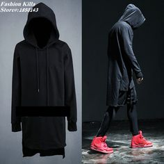 Cheap men summer clothes, Buy Quality clothes men directly from China clothes bamboo Suppliers: Swag clothes mens side split oversized big hood hoodies hip hop fashion big and tall men extended black hoodie kanye west