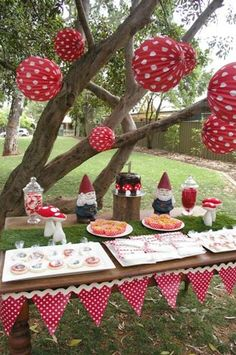 Hostess with the Mostess® - Garden Gnome Party -- paper lanterns Garden Birthday, 3rd Birthday Parties, Fairy Birthday, Party Kit, Baby Party, Enchanted Forest Party, Fairytale Party, Ben E Holly, Party Themes