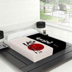TSUKI Sábanas NAGASAKI cama 150 negro / blanco / rojo Zen Chillout: Amazon.es: Hogar