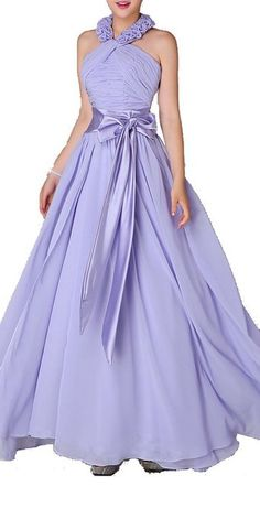 Romantic Flowery Halter Neck Sash Long Prom Dress (US 16)