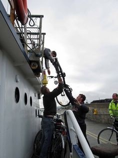 Loading bikes onto the Aran Islands Ferry from Doolin, Western Ireland. Sail it for yourself on our Western Ireland tour: http://distantmountaintrips.com/organized-guided-trips/western-ireland/