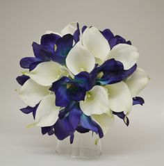 Blue Real Touch Bouquet with White Calla Lilies by blueorchidcreations, $65.00