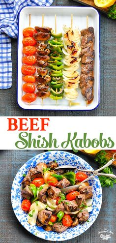 These easy Beef Shish Kabobs are healthy dinner for the grill, oven, or stovetop! Perfect for a summer cookout! #beef #kabobs #grilling #healthy #dinner #TheSeasonedMom