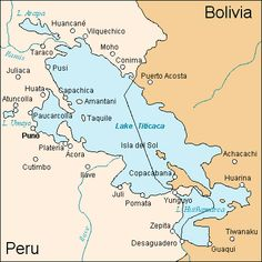 A map of Lake Titicaca in South America, located between Peru and Bolivia. For ancient Andean peoples the lake was a sacred site and considered the centre of the cosmos and place of original creation. Bolivia Peru, Machu Picchu, Peru History, Ecuador, Inca Empire, Tourist Trap, Lakes, Ancient History, Lake Titicaca