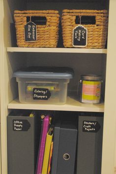 """Chalkboard contact paper labels cut out with the """"tag"""" shaped paper punch identify the contents of containers. Write on the labels with Wet Erase Chalk Marker."""