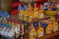 Fantastic treats at a Beauty and the Beast birthday party! See more party planning ideas at CatchMyParty.com!