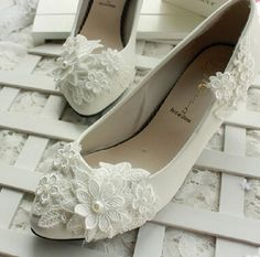 Cheap flower pr, Buy Quality flower shoes directly from China shoe cover Suppliers:                           2015 Hot Sale Women  Lvory White Weeding Shoes  Lace Flower 8cm 11cm  High