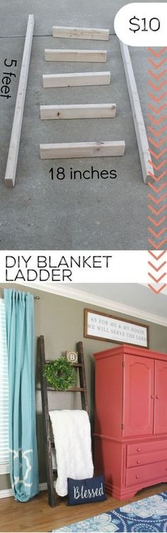 DIY Home Decor Turn scrape wood into a DIY blanket ladder. Diy Wood Projects, Furniture Projects, Home Projects, Furniture Storage, Bedroom Storage, Bathroom Furniture, Money Making Wood Projects, Diy Projects For Couples, Diy Furniture Cheap