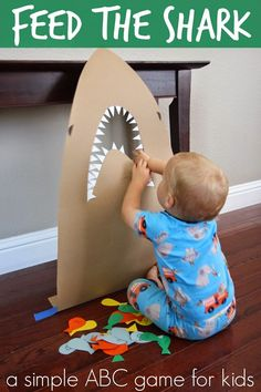 Feed the Shark Alphabet Game for Kids - Toddler Approved!: Feed the Shark Alphabet Game for Kids - Shark Activities, Animal Activities For Kids, Animal Crafts For Kids, Toddler Learning Activities, Infant Activities, Toddler Crafts, Craft Activities, Shark Week, Abc Games For Kids