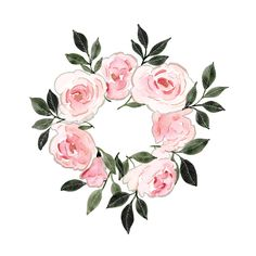 This watercolor floral art print features a wreath of roses painted in soft pink hues and contrasted by dark green and black leaves with silver and ink details. Wreath Watercolor, Easy Watercolor, Watercolour Tutorials, Watercolour Painting, Watercolor Flowers, Painting & Drawing, Watercolors, Illustration Art, Illustrations