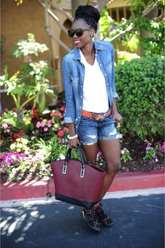 Mixing Things Up, African fashion stylist/blogger. Tennis shoes- Air Jordan. Zara bag. Hermes belt. H Jean shorts and American Eagle short.