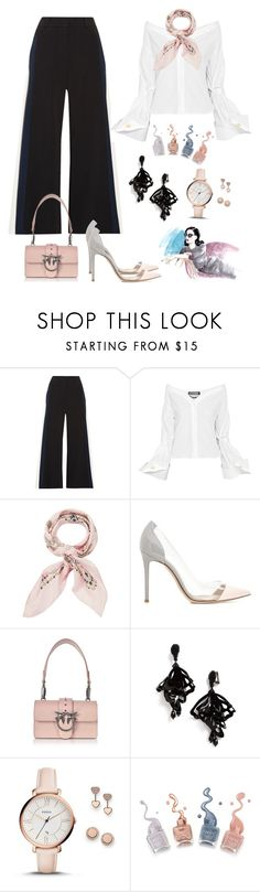 """Fifty shades of formal chic look"" by marahxstyle ❤ liked on Polyvore featuring Peter Pilotto, Jacquemus, Manipuri, Gianvito Rossi, Pinko, Oscar de la Renta, FOSSIL, fashionset, polyvoreeditorial and polyvorecontest"