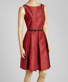 <3 <3  Another great find on #zulily! Danny & Nicole Red & Black Pin Dot Sleeveless Dress by Danny & Nicole #zulilyfinds