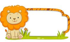 Illustration Of A Ready To Print Label Featuring A Cute Lion. Stock Photo, Picture And Royalty Free Image. Safari Theme, Jungle Theme, Banner Printing, Printing Labels, Fall Crafts, Crafts For Kids, Imprimibles Baby Shower, Preschool Jungle, Boarder Designs