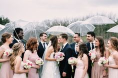 Rain on your wedding day is a sign of good luck, whether you think so at the time or not. Don't let the weather dampen your mood, though. Umbrellas are a great way to keep the rain off and provide you with unique wedding photos that you will love forever.