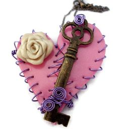 Mended Heart with Rose and Key polymer clay embelishment
