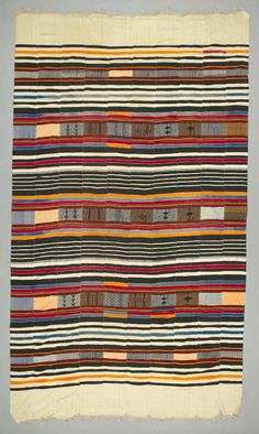 Africa | Wrapper from the Niger; most probably Hausa, northern Nigeria | ca. late 20th century | cotton; strip woven, weft-faced, supplementary weft.