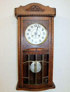Antique Wall Clock Chime Clock Regulator 1920th Craftsman Wall Clocks, Clocks For Sale, Box Tops, Beer Signs, Clock Decor, Ebay Search, Mantle, Trading Cards, Antique