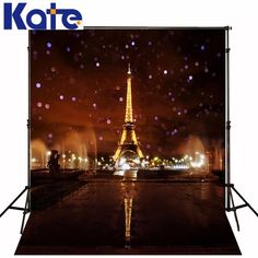 5x7FT Kate Eiffel Tower Photography Backgrounds Brown City Night Photo Background Photography Backdrop Wedding Photo Backdrops