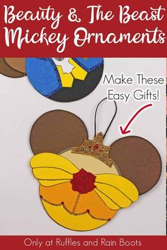 I made these amazingly cute Princess Belle and the Beast Christmas ornaments and I absolutely love them. The simplest set of Beauty and the Beast ornaments! Funny Ornaments, Grinch Ornaments, Disney Christmas Ornaments, All Things Christmas, Christmas Crafts, Disney Diy, Disney Crafts, Disney Cruise, Christmas Activities For Kids