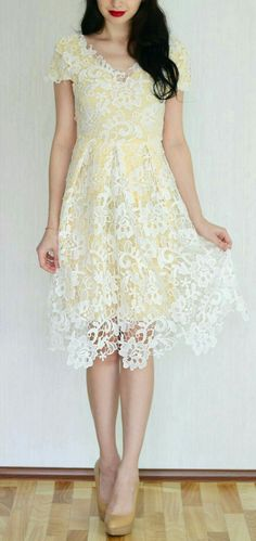 0fdb2236726 Elegant V-Neck Cap Sleeve Crochet Flower Lace Dress For Women ºº♡ Emma Jane  ♡ºº
