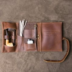 """The """"Dapper Jack"""" Personalized Fine Leather Pipe Roll Tobacco Pouch"""