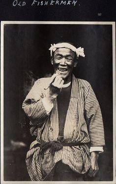 Japan, Old fisherman, ca.1914-18 by Elstner Hilton