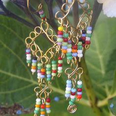 multi-colored seed bead dangles