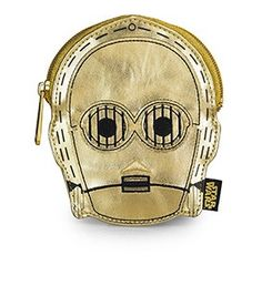 Loungefly x Star Wars C-3PO Metallic Gold Faux Leather Face Coin Bag