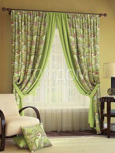 """Комплект штор """"Краун (зеленый)"""": купить комплект штор в интернет-магазине ТОМДОМ #томдом #curtains #шторы #interior #дизайнинтерьера"""