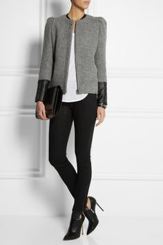 MAJE Dream leather-trimmed wool jacket $655