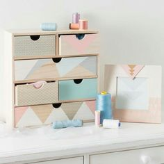 Box with 6 drawers ANJA made of wood, H 34 cm - artroom project - Diy Deko Pastel Decor, Deco Pastel, Pastel Home, Study Room Decor, Cute Room Decor, Bedroom Decor, Kids Bedroom, Bedroom Ideas, Home Office Decor