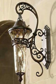 Outdoor lamp/light/fixture, wrought iron by Frontgate Lanterns, Lamp, Light, Accent Decor, Light Fixtures, Lights, Exterior Lighting, Iron Decor, Tuscan Decorating