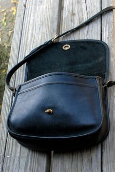 Vintage Black Leather Coach Purse by handmadetolast on Etsy