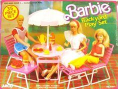 1986 Mattel Barbie Backyard Playset # 7750 MIB - I so wanted this! Mattel Barbie, Barbie Doll Set, Barbie Doll House, Barbie Dream House, Vintage Barbie, Baby Dolls, Backyard Playset, Custom Barbie, Barbie Playsets