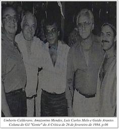 """Umberto Calderaro, Amazonino Mendes, Luís Carlos Melo e Guido Arantes. Coluna Gil """"Gente"""" do A Crítica de 26 de fevereiro de 1984."""