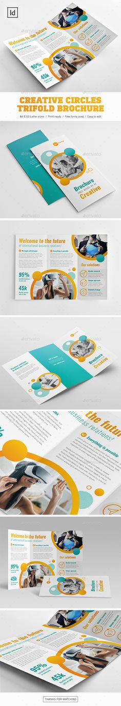 Creative Circles Trifold Brochure Template InDesign INDD