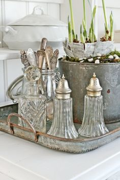 Crystal with metals vignette (galvanized tray, bucket & silver)