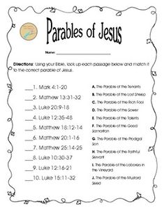 Free Bible Worksheet: Matching Parables of Jesus - This worksheet was designed to get your students reading 10 Parables of Jesus. Sunday School Activities, Church Activities, Bible Activities, Sunday School Lessons, Bible Games, Prep School, Bible Study For Kids, Bible Lessons For Kids, Kids Bible Studies