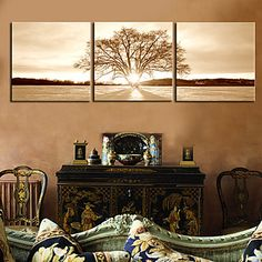 Stretched Canvas Print Art Landscape Lonely Tree Set of 3 851549 2016 – $70.06