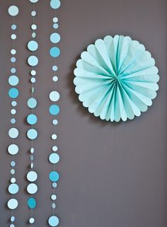 easy decor idea for showers or parties: polka dot garlands