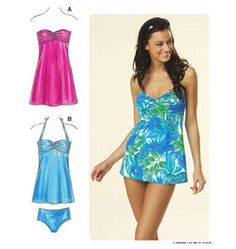 Kwik Sew sewing pattern K3609. Cute swimsuit, would make hemline a few inches shorter.