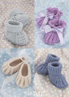 Sirdar Baby Booties & Shoes Knitting Pattern 1487 4 Ply (Sirdar-1487) 0-6 Months - 1-2 Years Sirdar Patterns Knitting Patterns Sirdar-1487. | eBay!