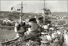 Italian battleship Roma, last of the modern 15 in Littorio class, pictured in spring 1943: she did not enter service till June 1942, over 2 years after her two sisters, due to delays completing her under wartime conditions.  She was the only one of the trio (Vittorio Veneto was the third) not to survive WW2, being sunk by German radio controlled glider bombs whilst en route to Malta to surrender in September 1943.